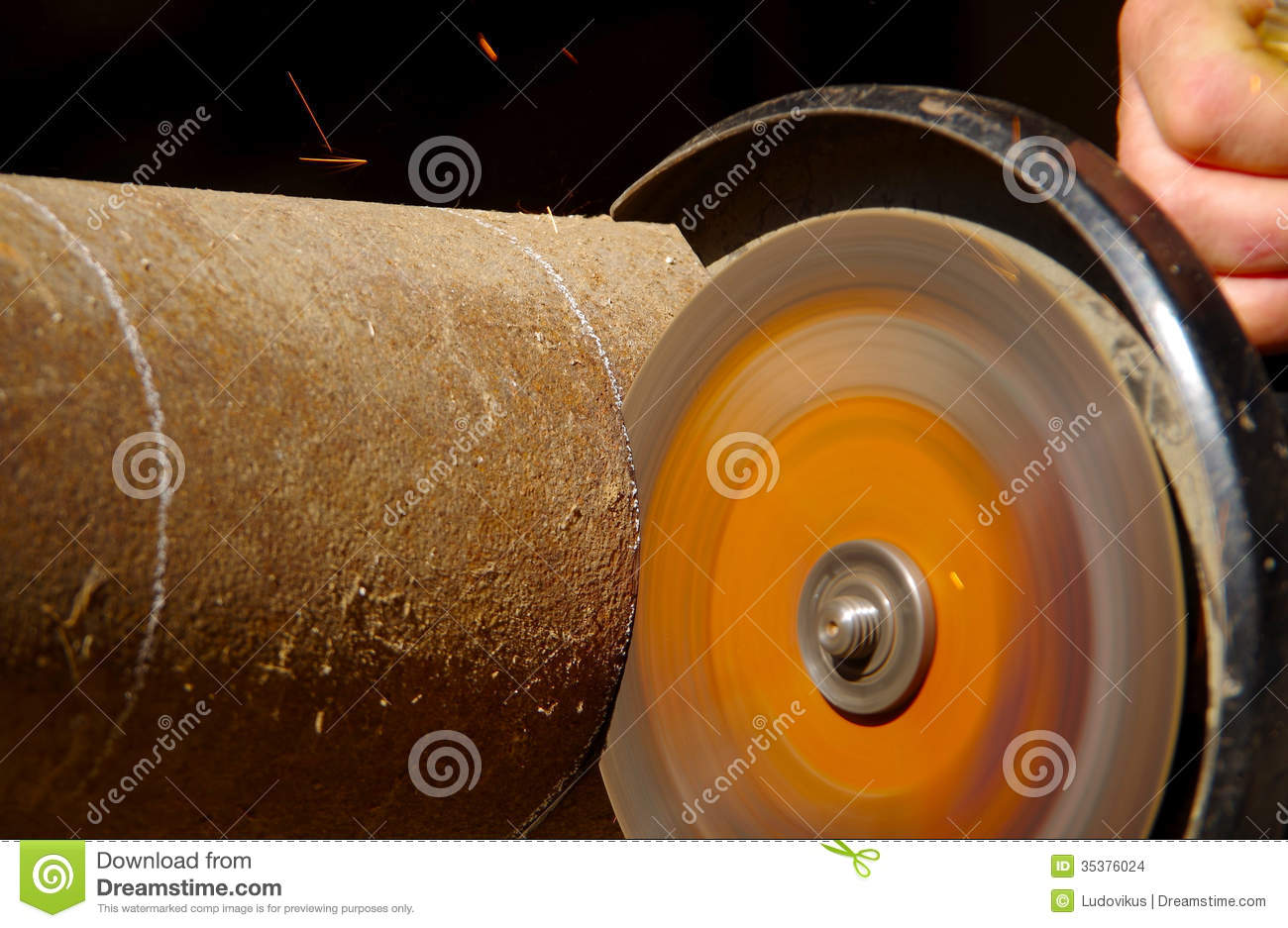 Cutting steel pipe stock photo image of workshop