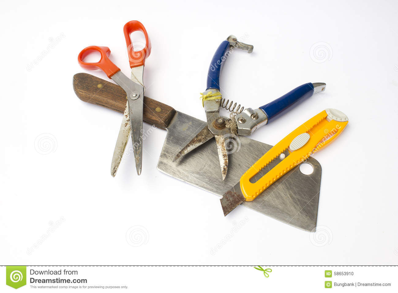 Cutting Tools Include Of Chopping Knife, Scissors, Pruning ...