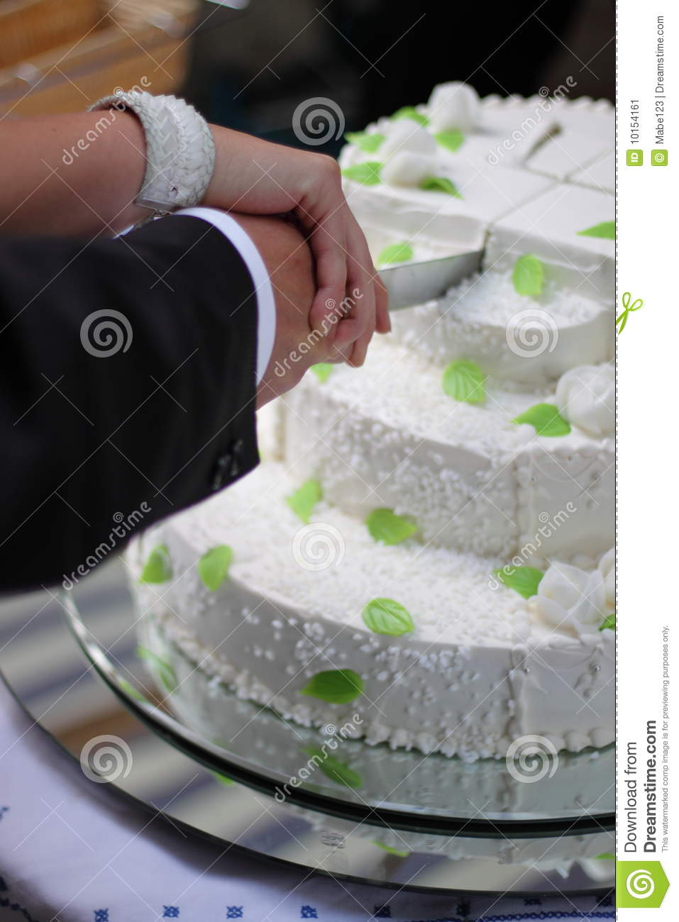 Cutting A Wedding Cake Stock Image Image Of Bridal Icing
