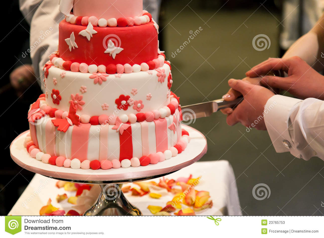 Bride And Groom Holding Knife To Cut The Wedding Cake