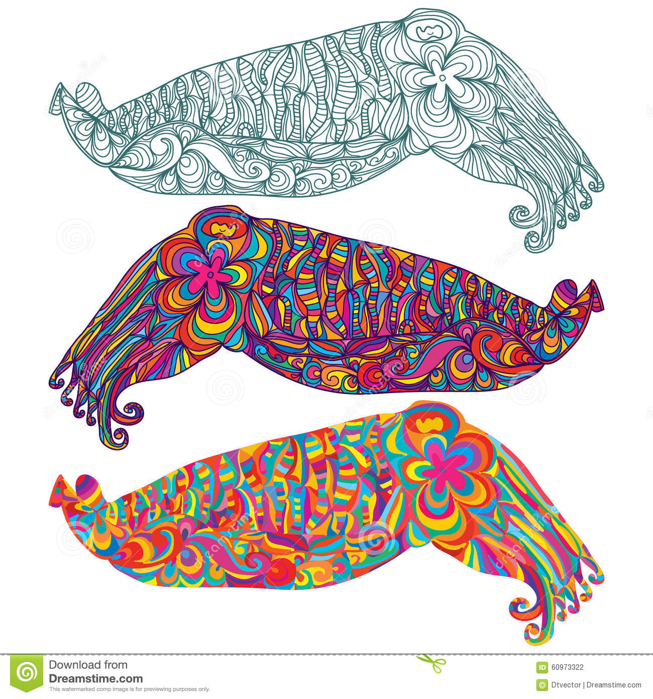 Cuttlefish Camouflage Cute Line Colorful Stock Photo ...