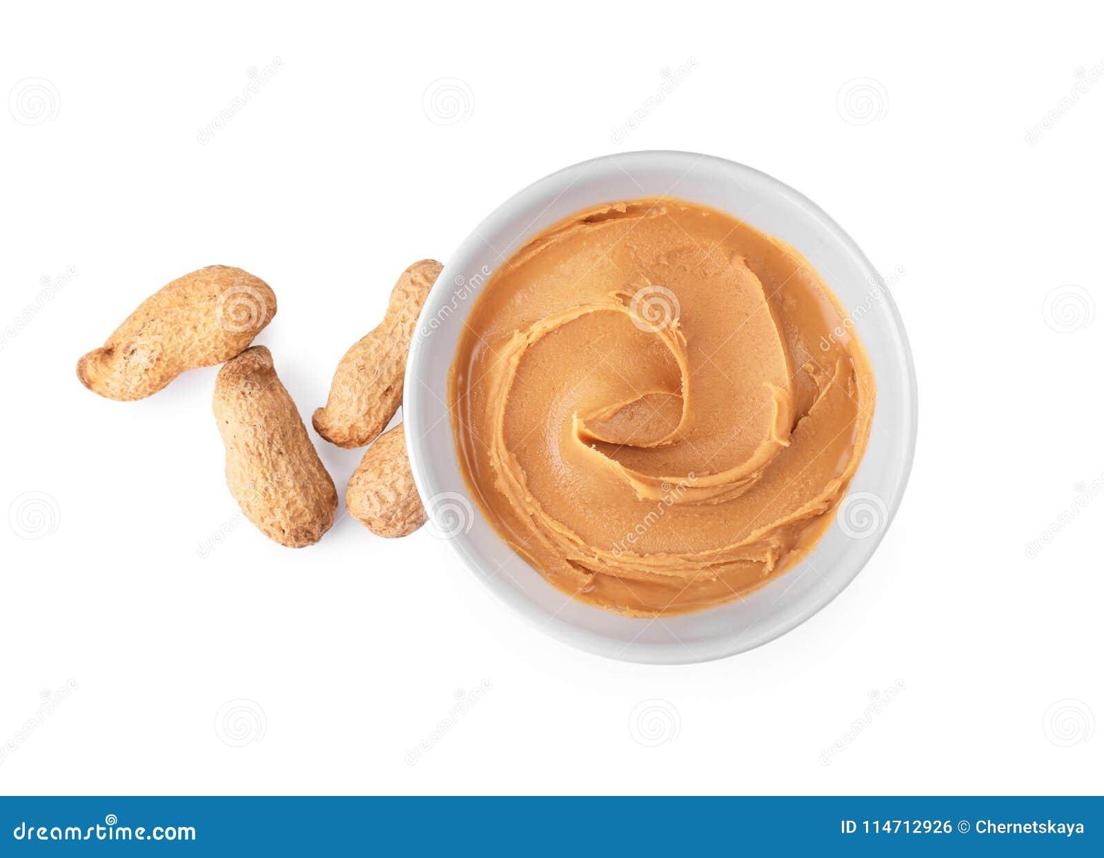 Cuvette avec le beurre d arachide crémeux