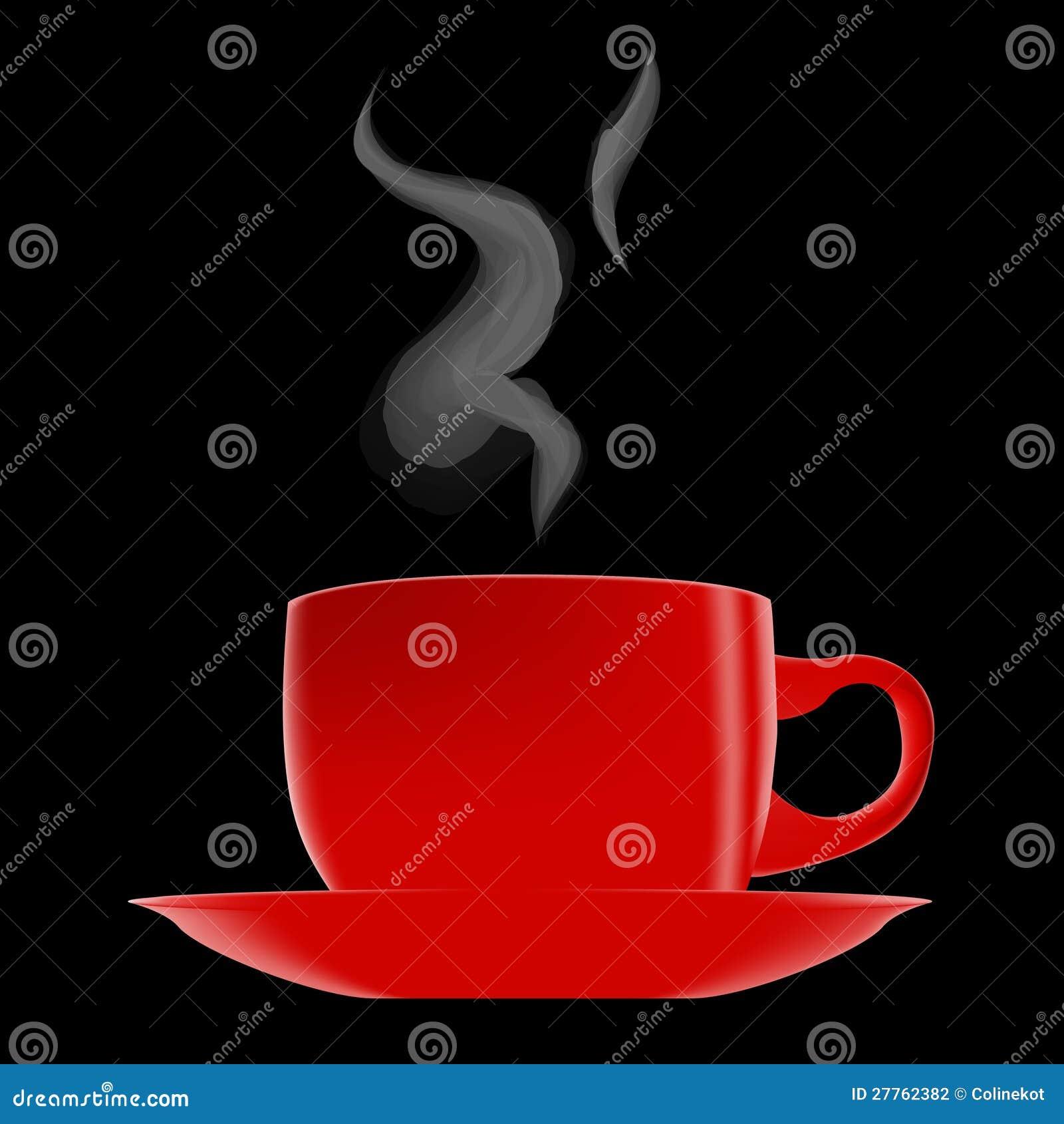 Cuvette de café d un rouge ardent