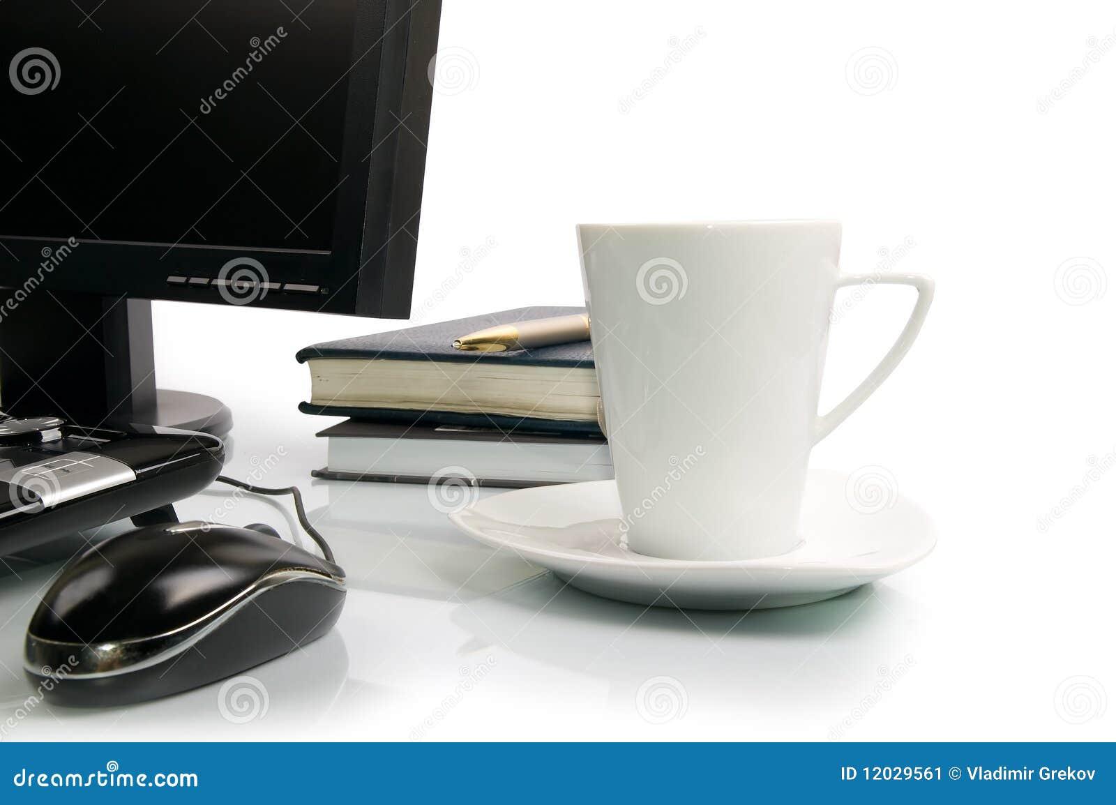 Cuvette de café et d ordinateur