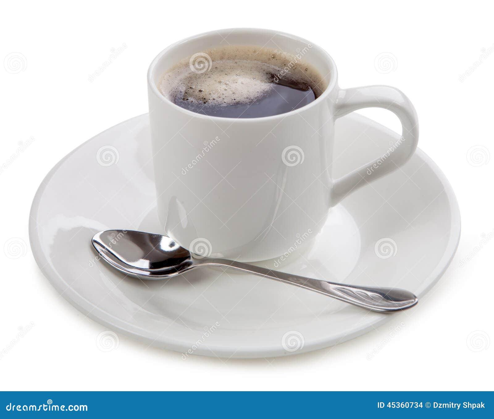 Cuvette de café sur le fond blanc