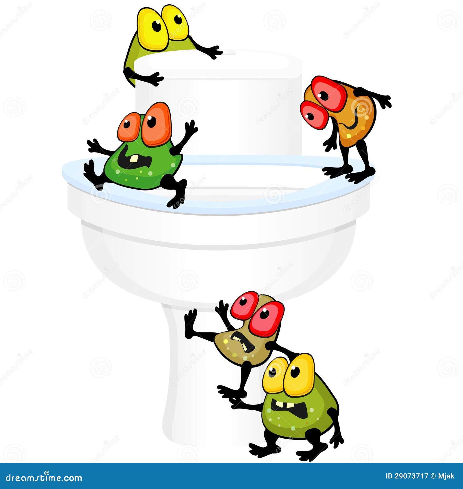 Cuvette Des Toilettes Avec Des Germes Photographie stock
