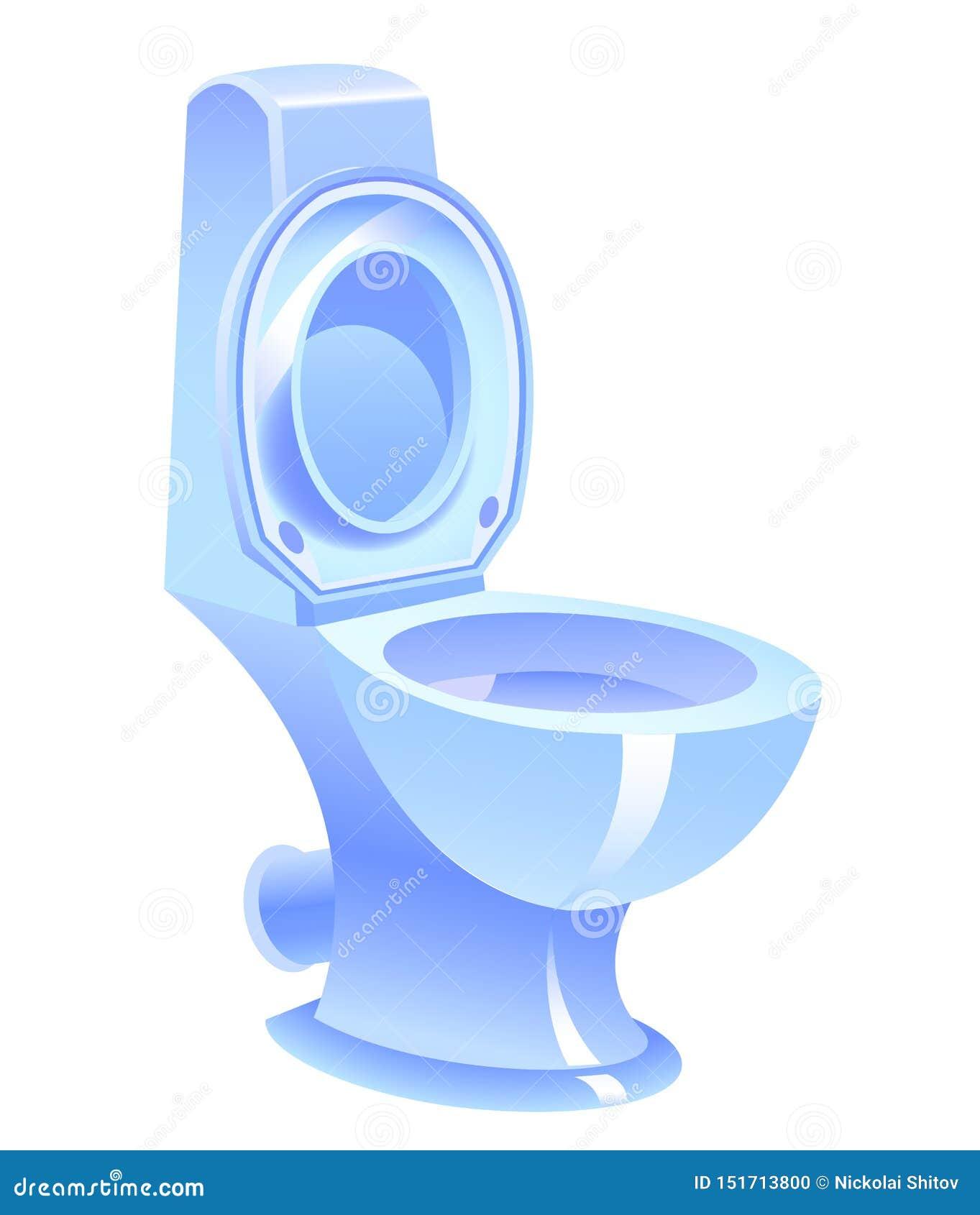 Cuvette des toilettes bleue