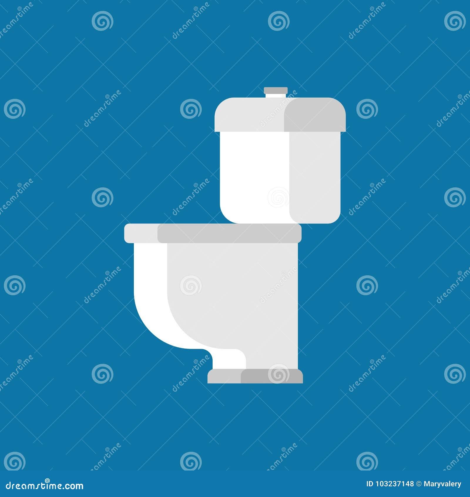 Cuvette des toilettes d isolement sur le fond bleu Défectuosité accessoire de vecteur de carte de travail