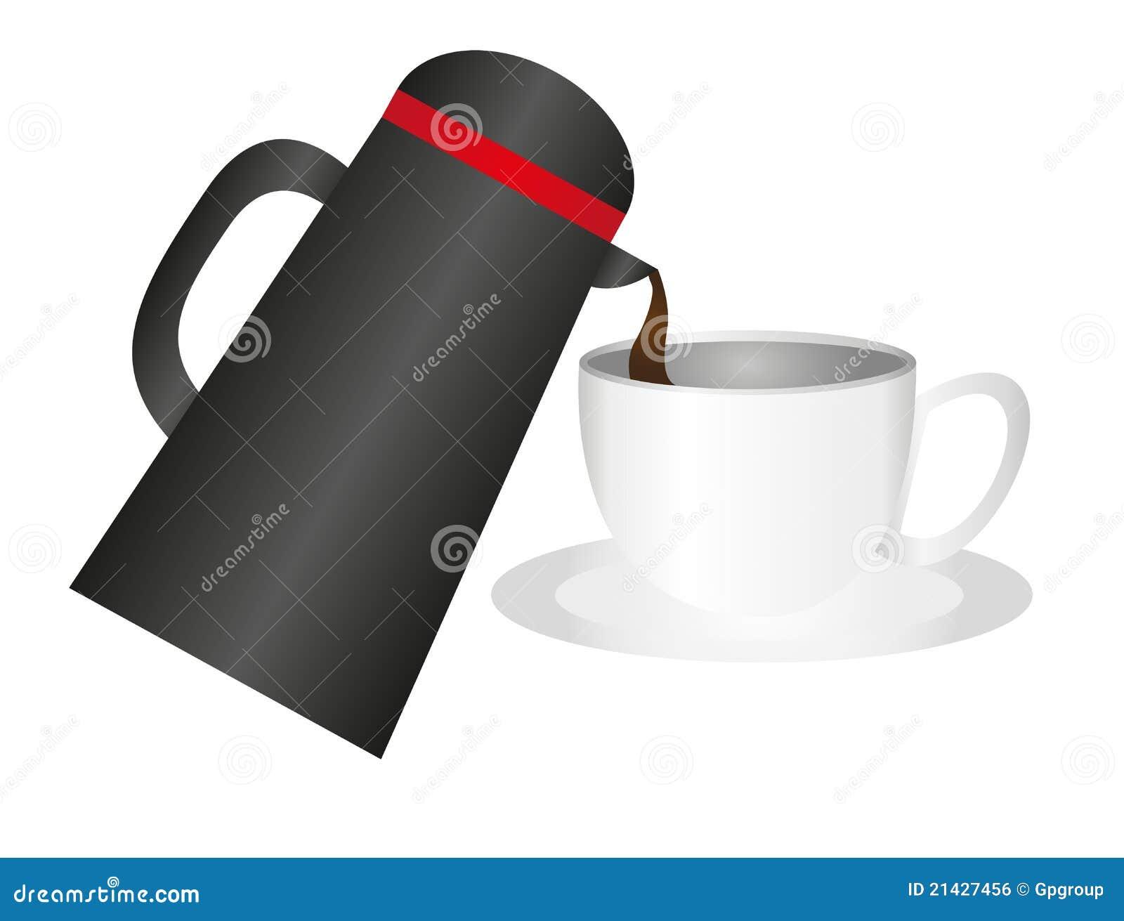 Cuvette et thermos de caf image libre de droits image - Thermos a cafe ...