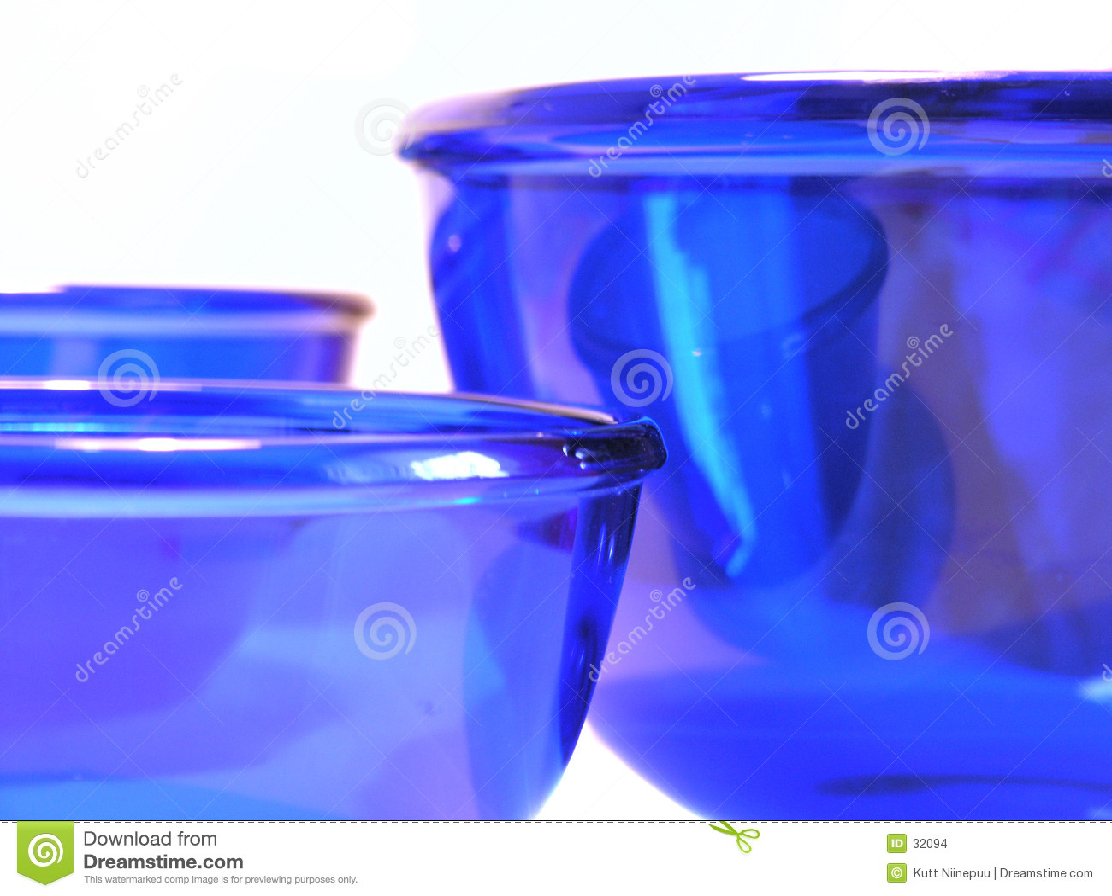 Cuvettes en verre bleues