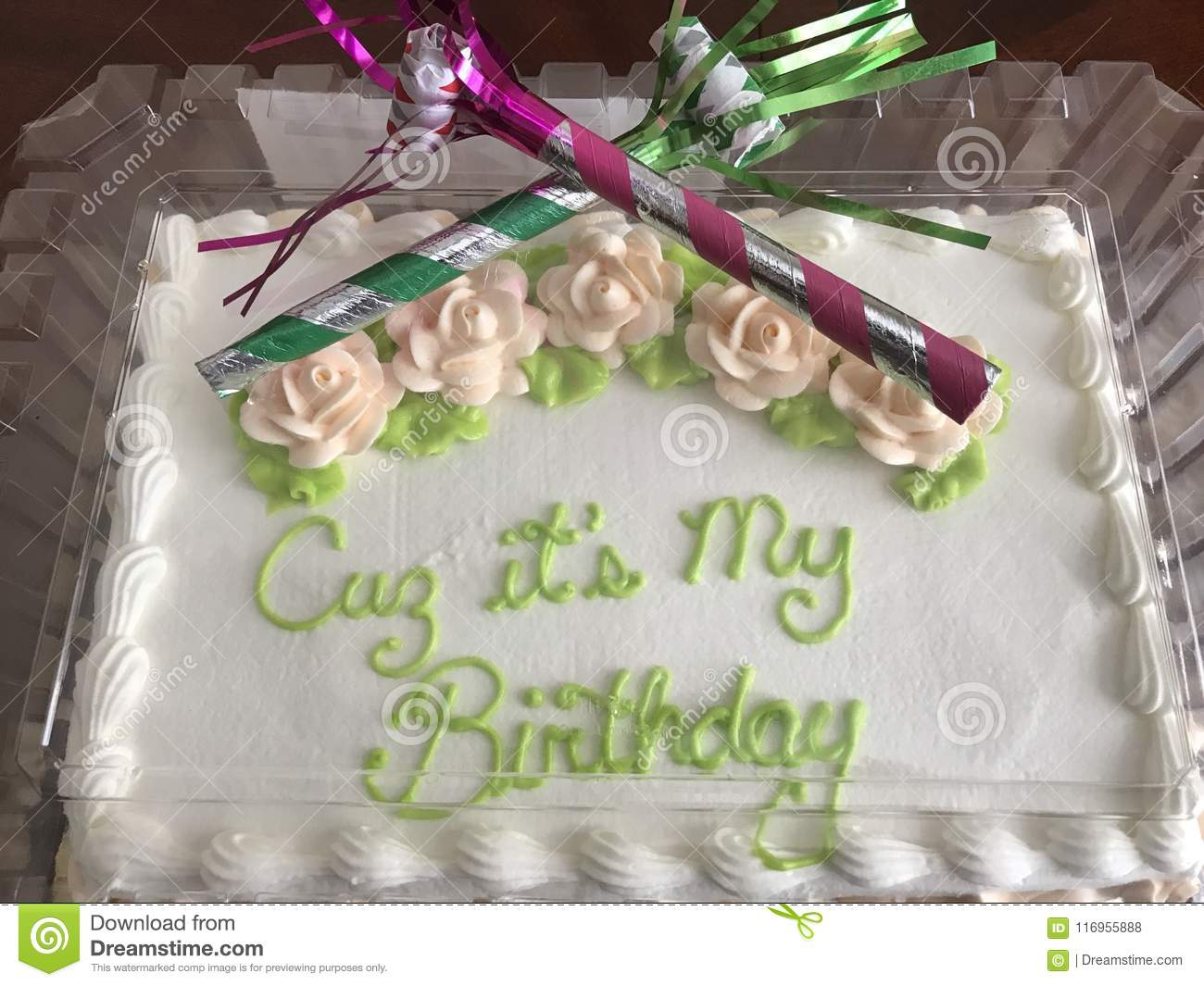 Magnificent Cuz Its My Birthday Cake Stock Photo Image Of Grown 116955888 Funny Birthday Cards Online Alyptdamsfinfo