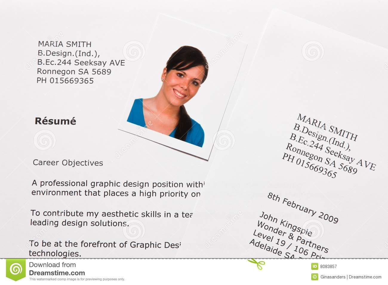 Cv And Application Letter In English Stock Image Image Of
