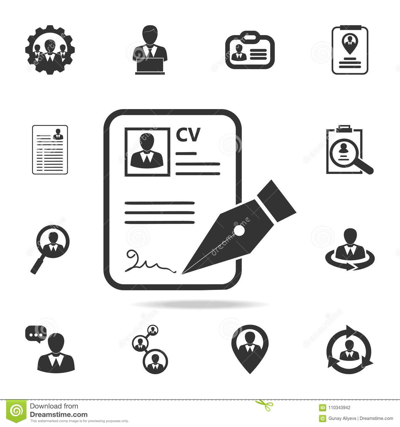 cv approvevent icon  set of human resources  head hunting icons  premium quality graphic design