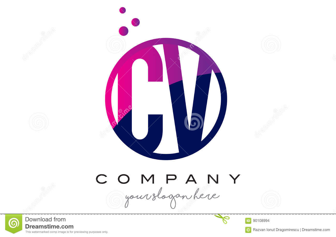 cv c v circle letter logo design with purple dots bubbles stock vector