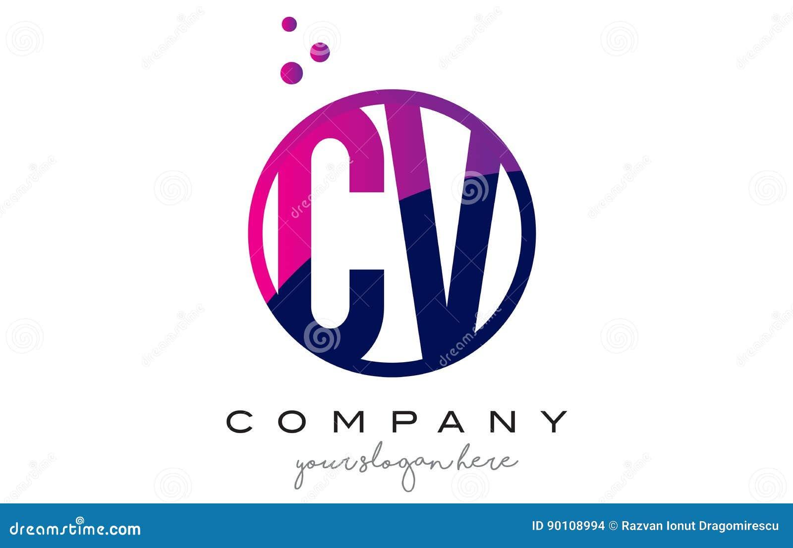 cv c v circle letter logo design with purple dots bubbles stock vector
