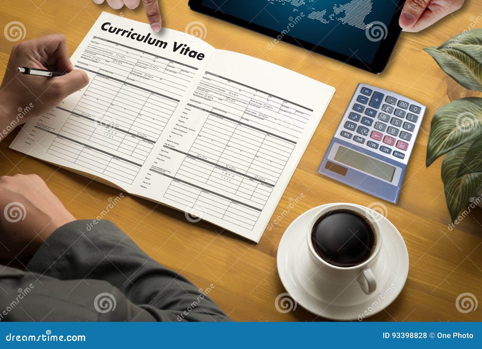 CV - Curriculum vitae (conceito da entrevista de trabalho com o CV do negócio com referência a