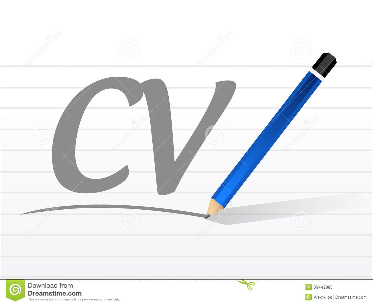 Cv Curriculum Vitae Message Sign Concept Stock Illustration