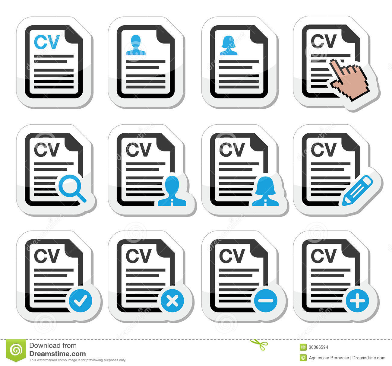cv - curriculum vitae  resume icons set stock images