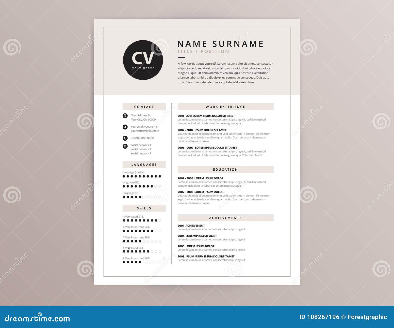 CV/curriculum Vitae Y Plantilla De La Carta De Presentación - Vector ...