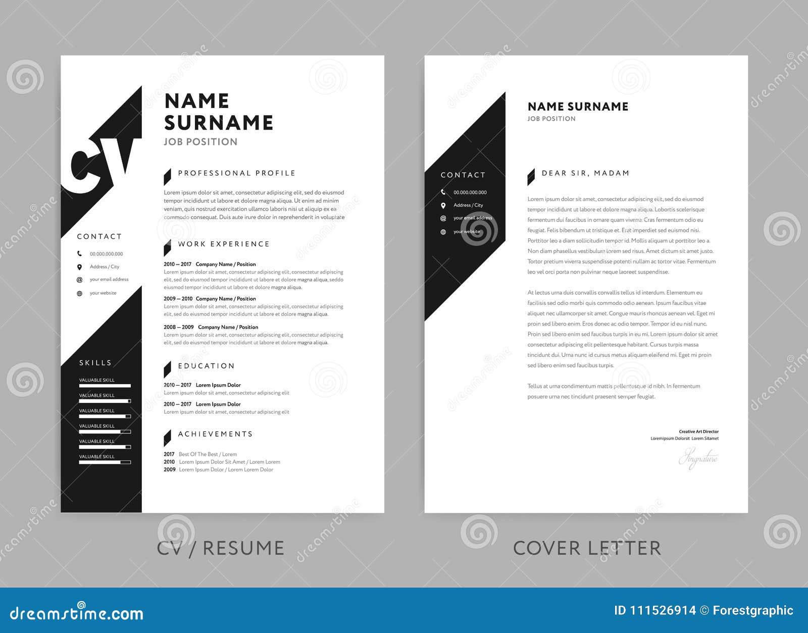 CV del minimalist/curriculum vitae y carta de presentación - diseño mínimo - vector blanco y negro del fondo
