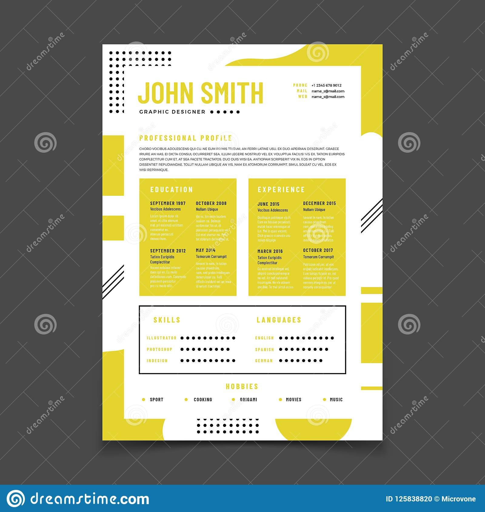 Cv Design Professional Resume With Business Details Curriculum And