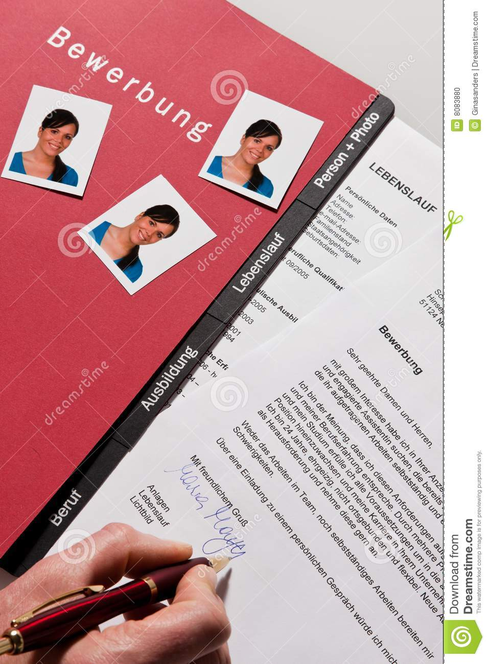 cv et lettre d u0026 39 application en allemand photo stock