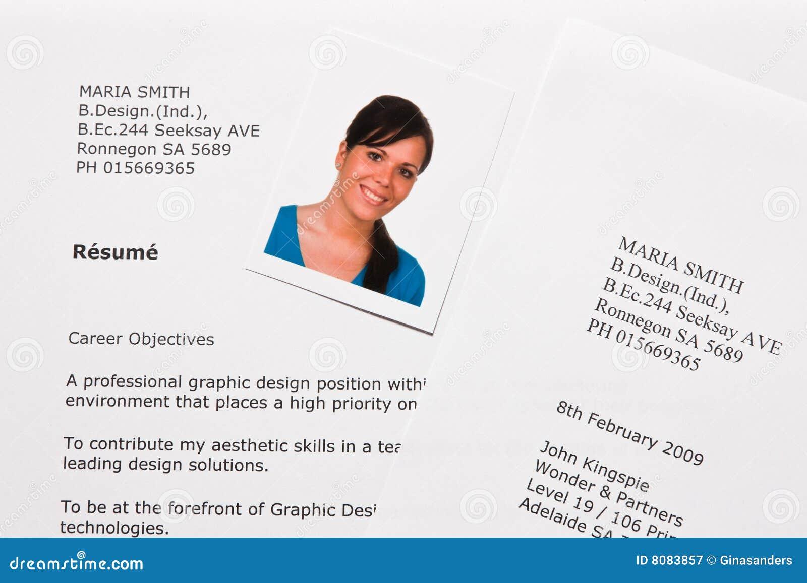 cv et lettre d u0026 39 application en anglais image stock