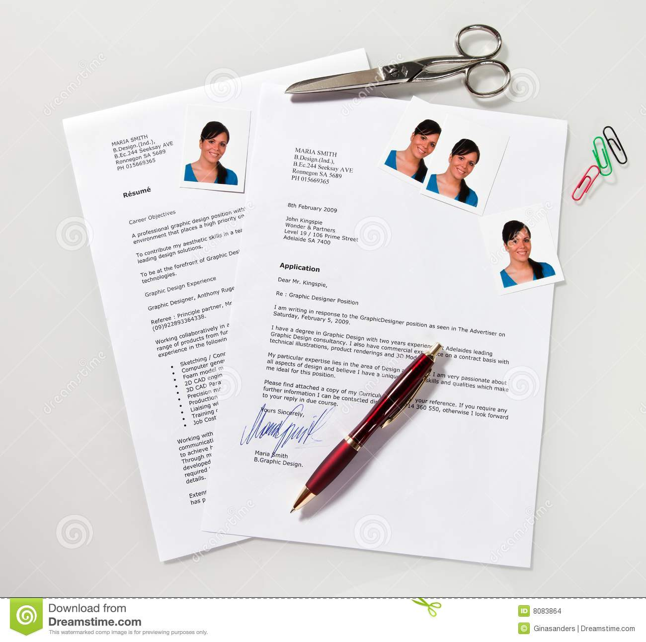 cv et lettre d u0026 39 application en anglais photo stock