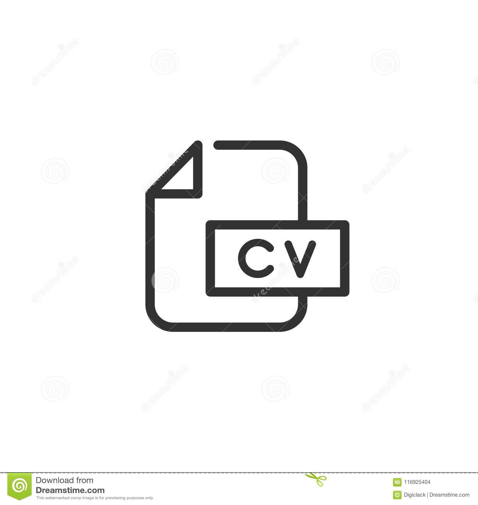 Cv File Line Icon Design Stock Illustration Illustration Of Resume