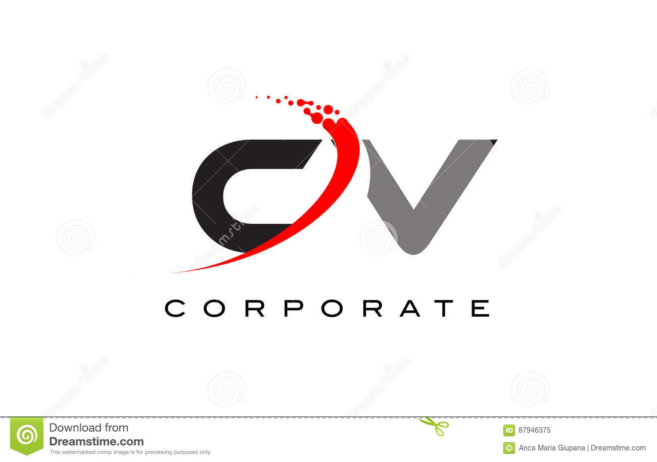 cv modern letter logo design with swoosh stock vector