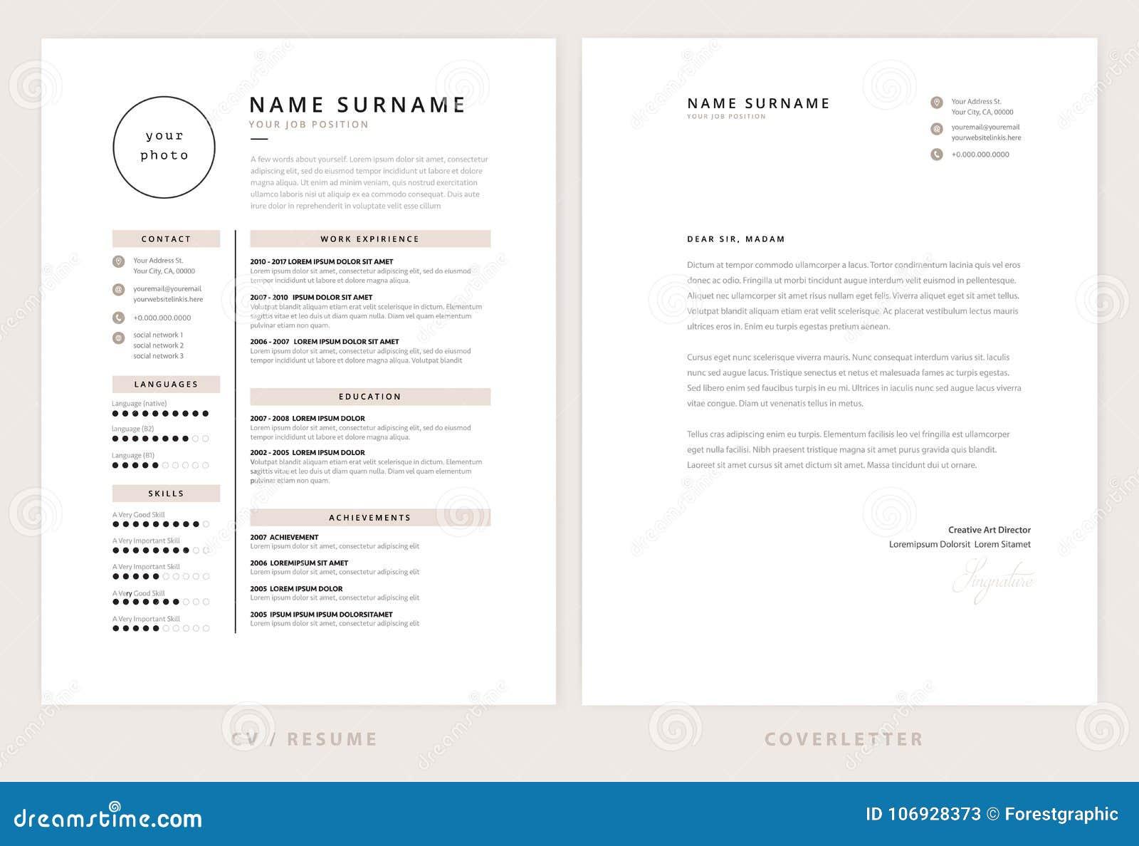 cv resume and cover letter template elegant stylish stock vector