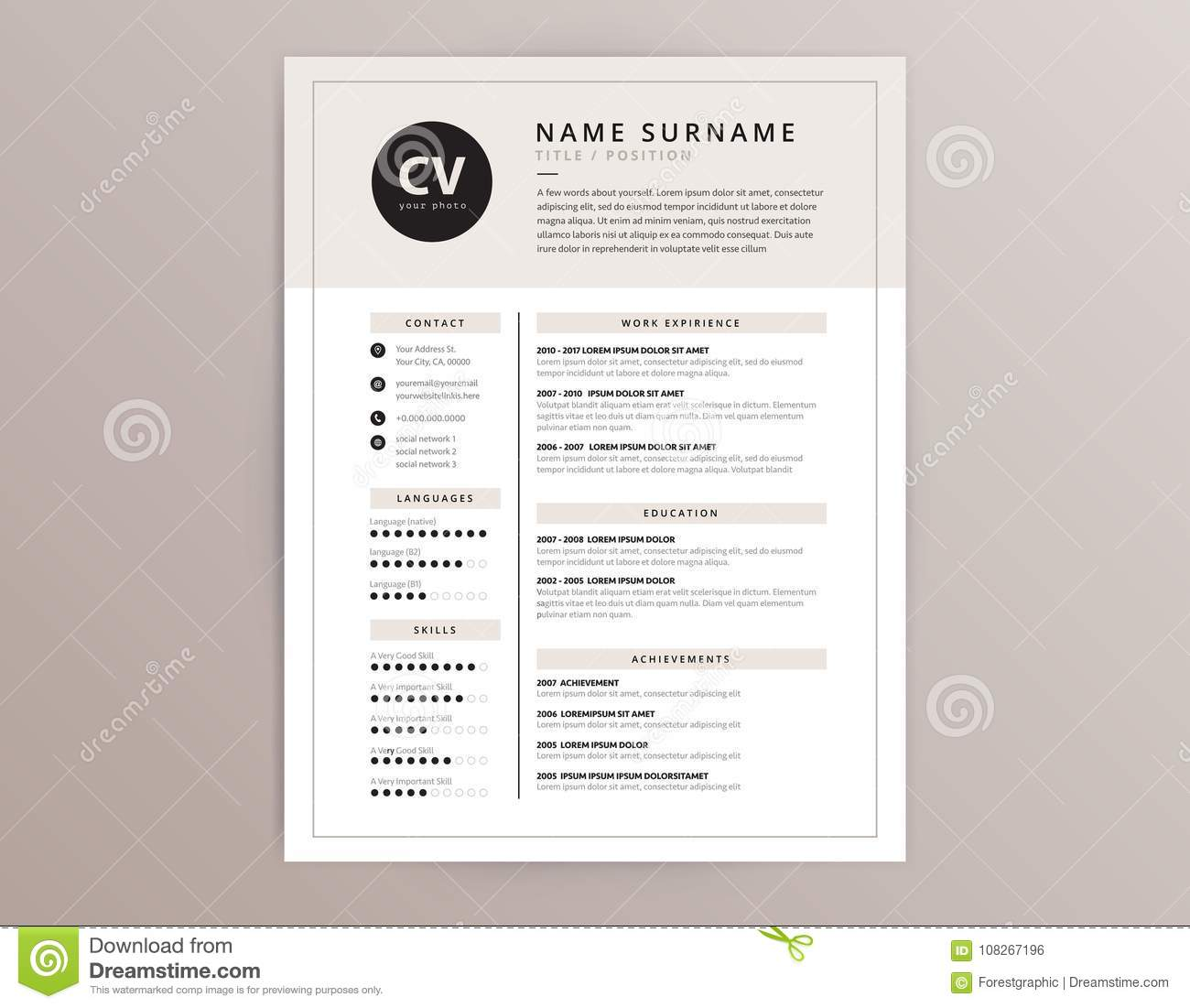 cv    resume template - elegant stylish vector design stock vector