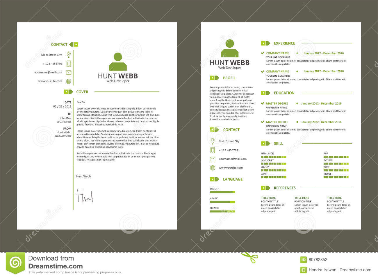 cv resume curriculum vitae green color with tag template resource