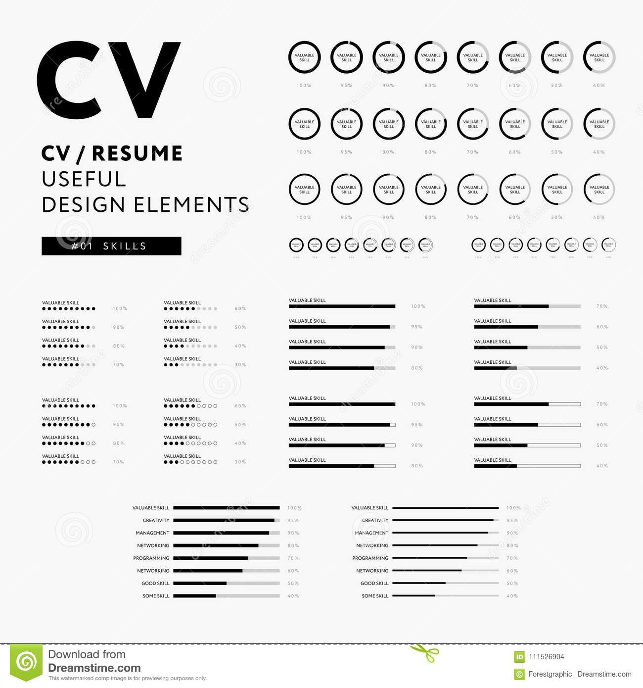 curriculum vitae useful design elements set - skills icons stock vector