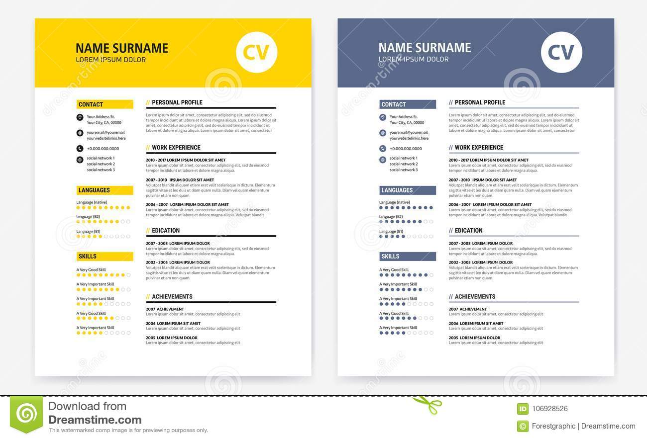 cv    resume design template form yellow and dark blue - stock vector