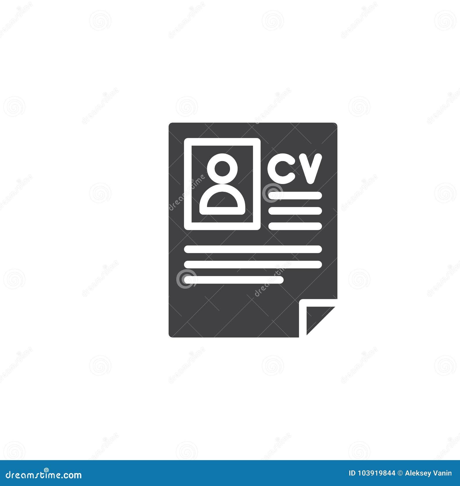 Cv Resume Icon Vector Stock Vector Illustration Of Graphics