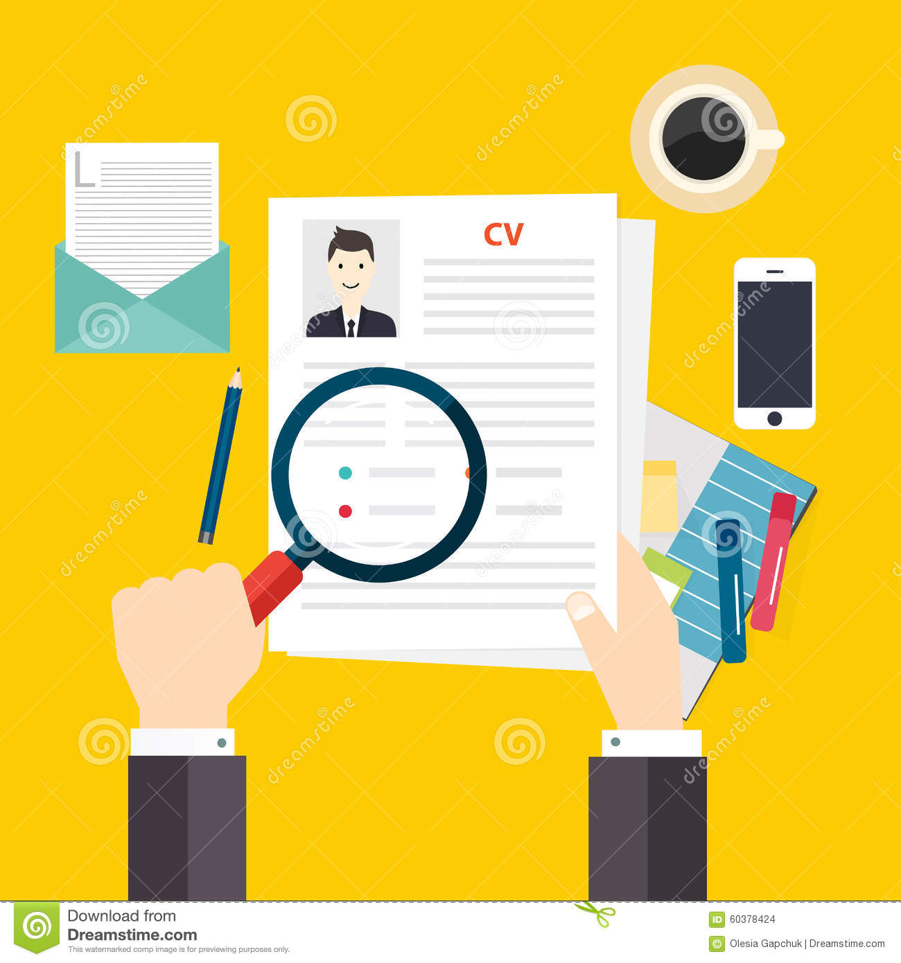 cv resume job interview concept writing a resume stock vector