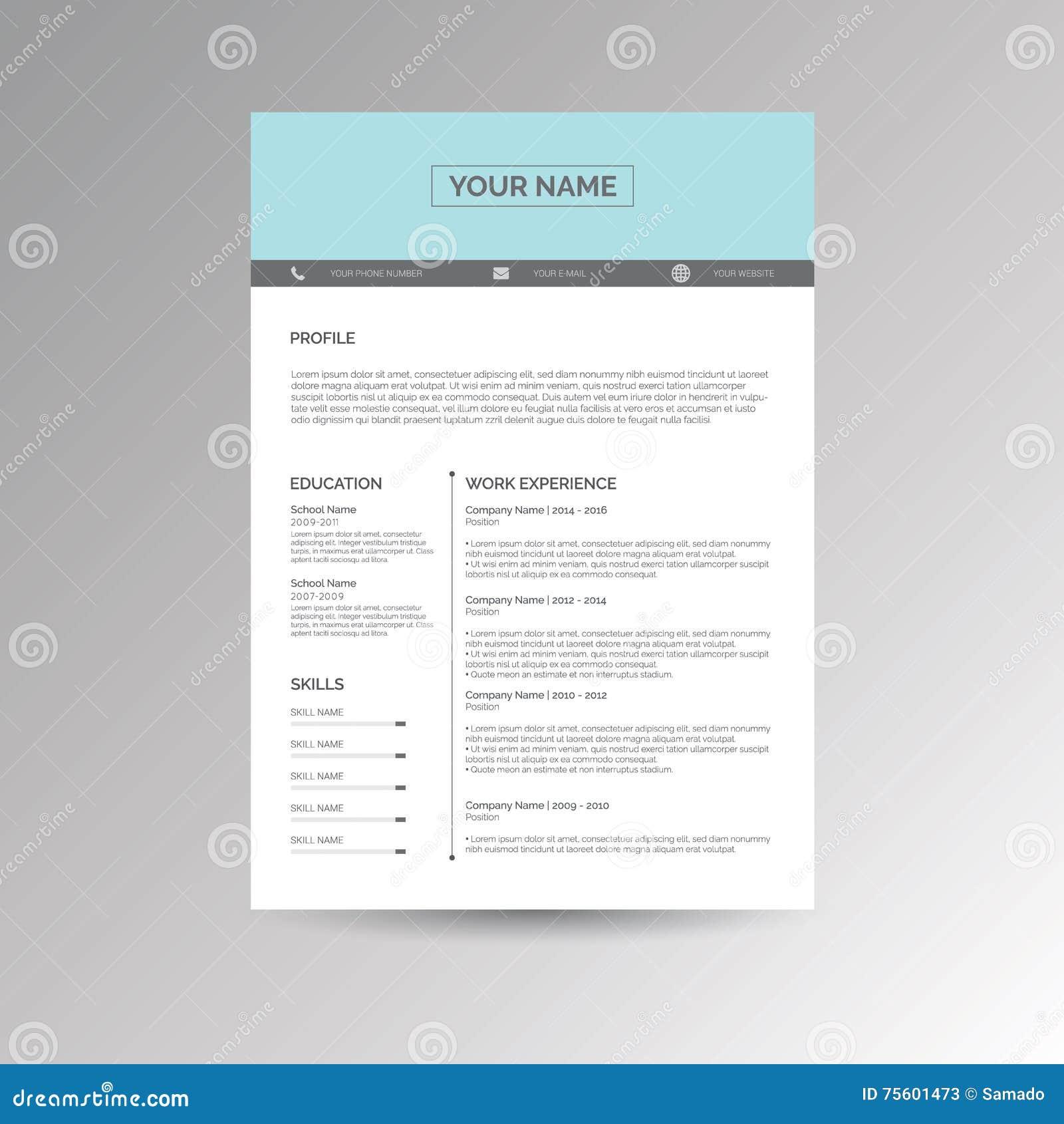 Cv Resume Template Stock Vector Illustration Of Work 75601473