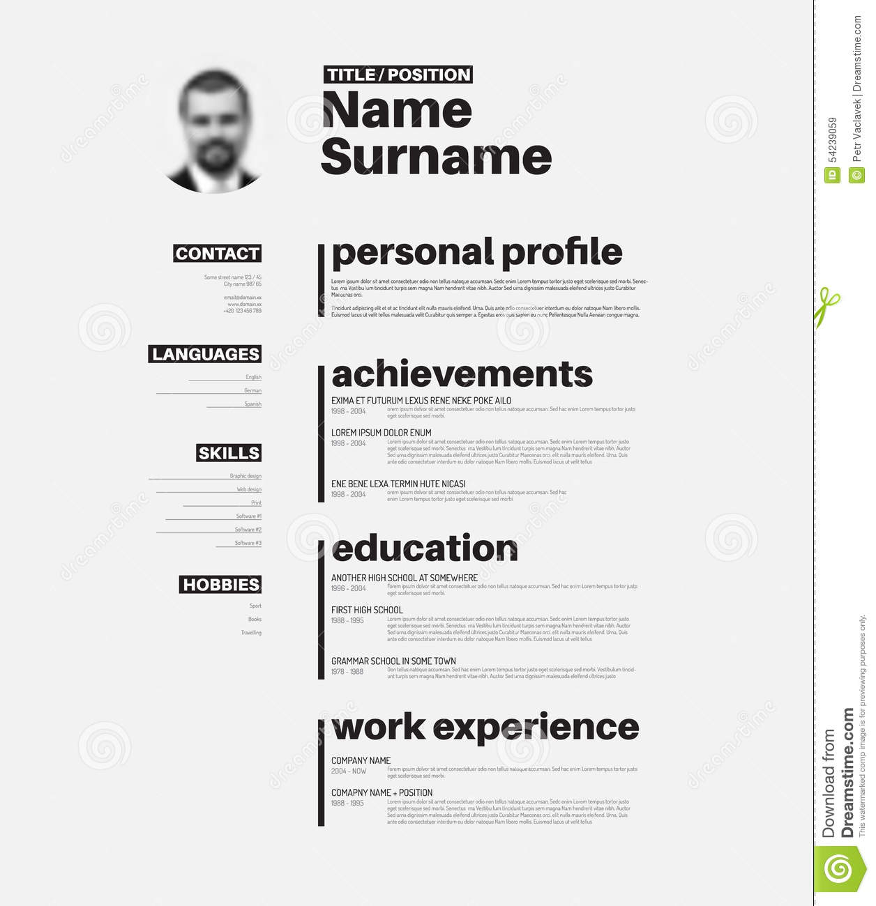 cv    resume template with nice typography stock vector