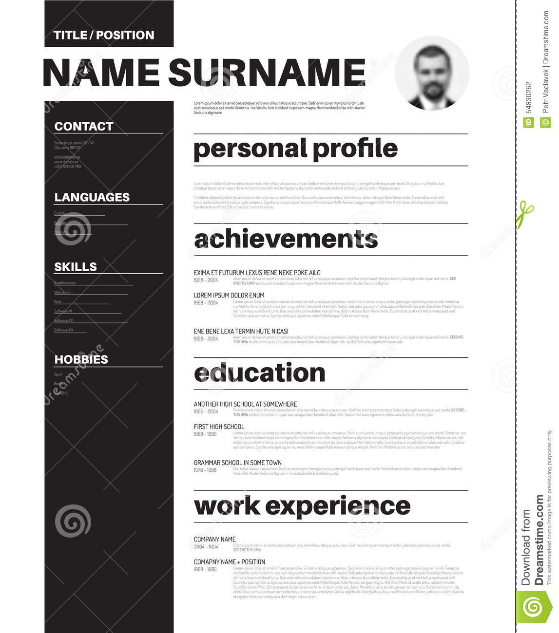 Cv Resume Template With Nice Typography Stock
