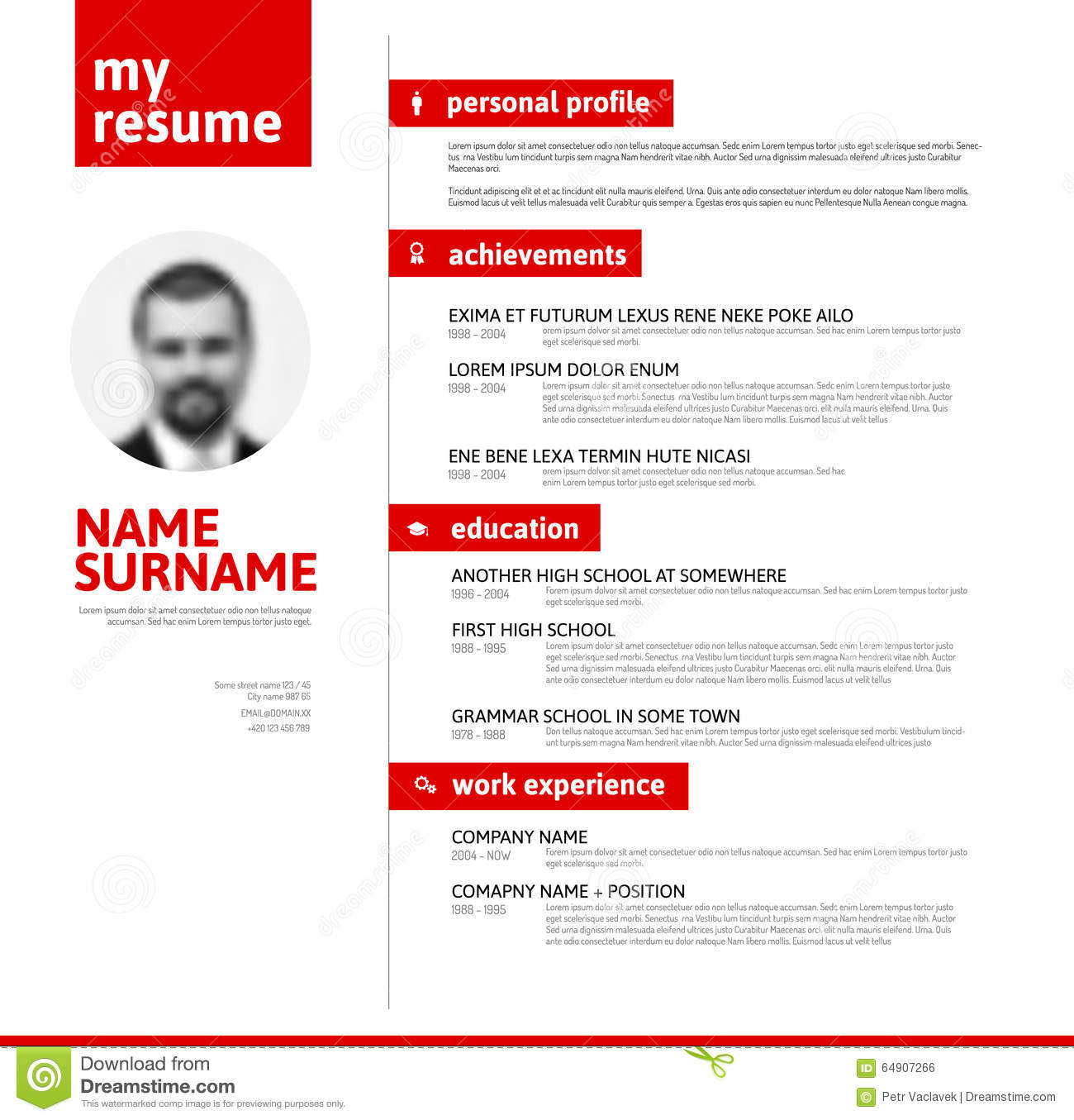 Cv  Resume Template With Nice Typography Stock Illustration