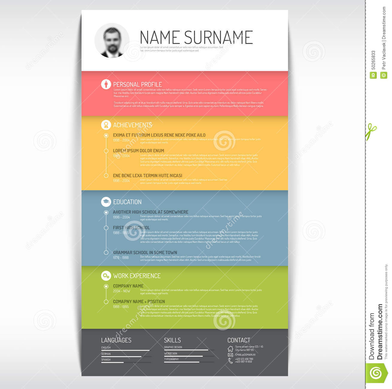 simplistic resume curriculum vitae template red stripes stock cv resume template stock photos