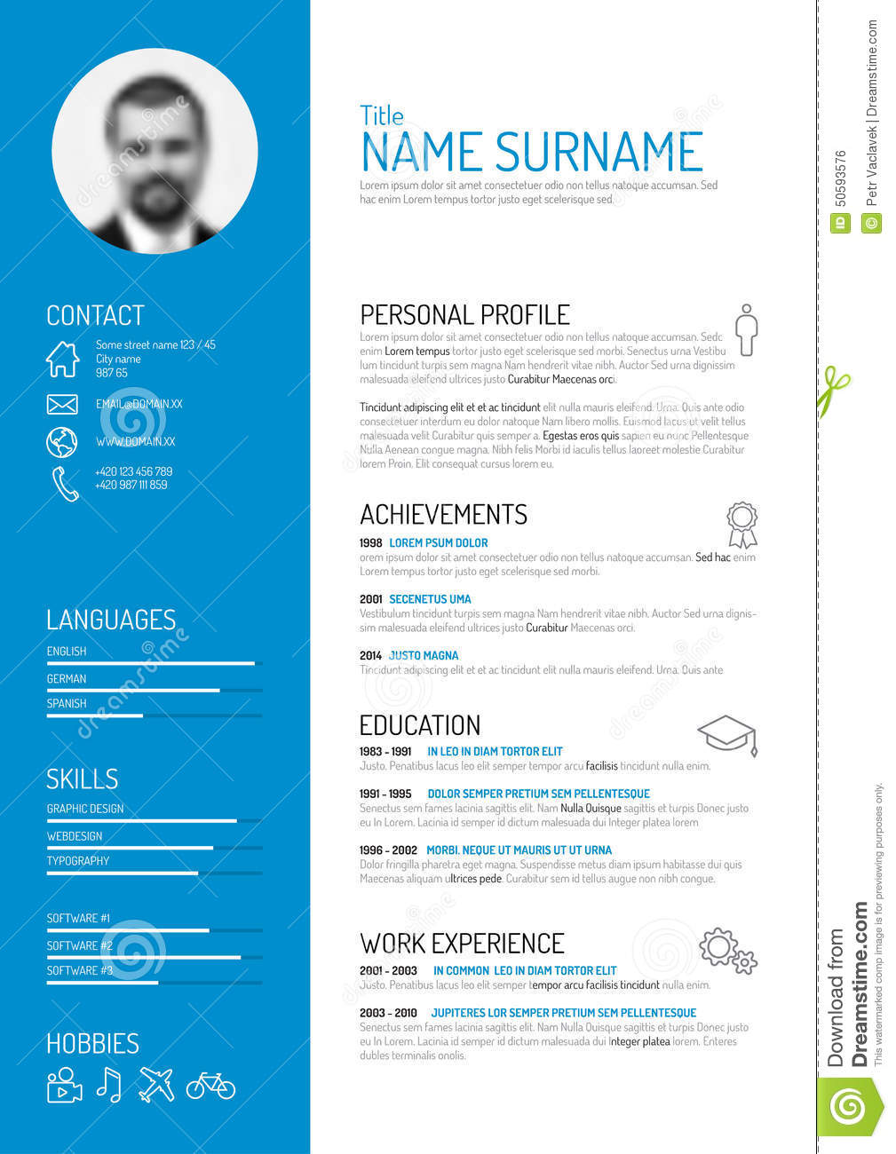 cv    resume template stock vector  illustration of experience
