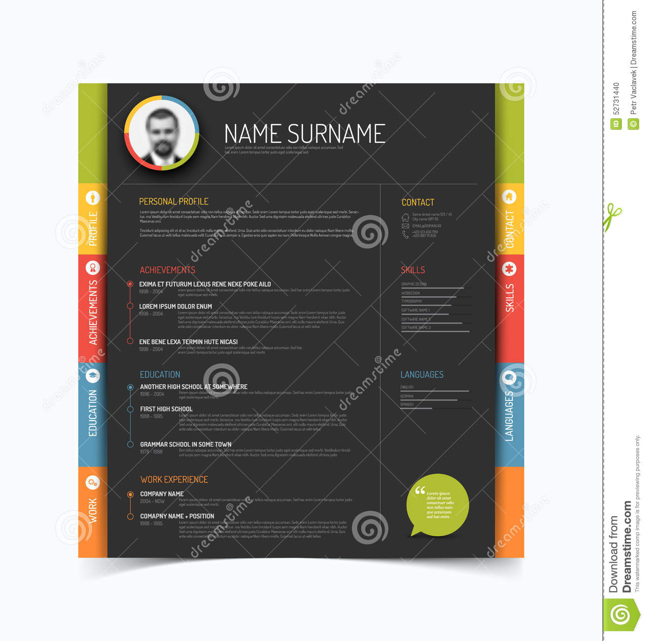 cv    resume template stock vector  illustration of header
