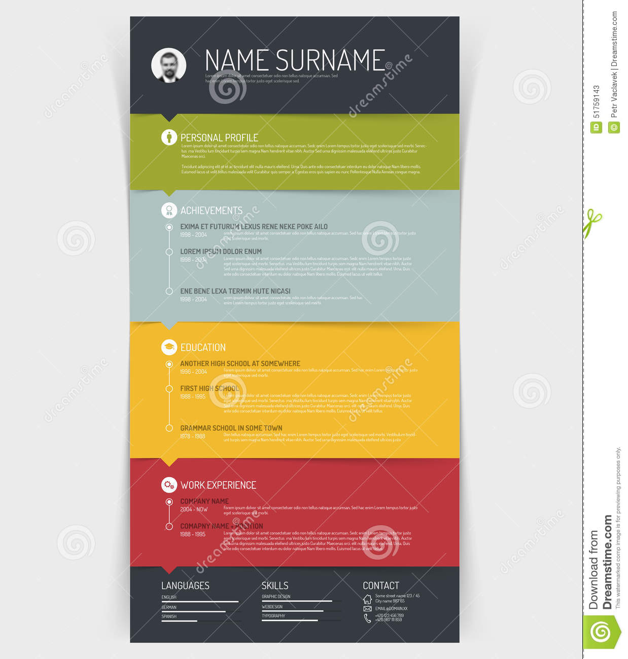 cv    resume template stock vector