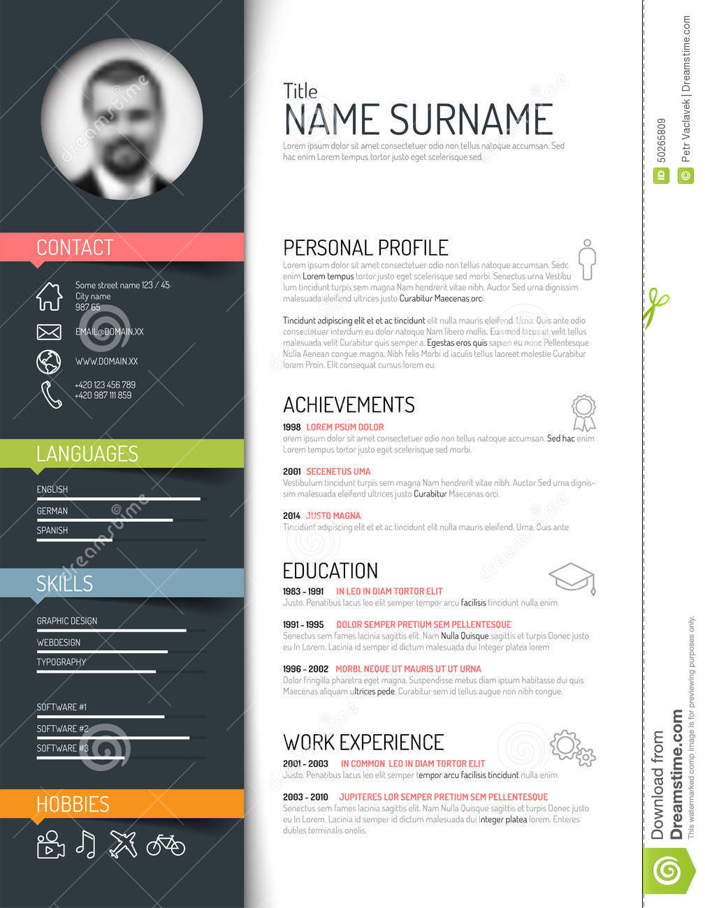 cv    resume template stock vector  image of green  clean
