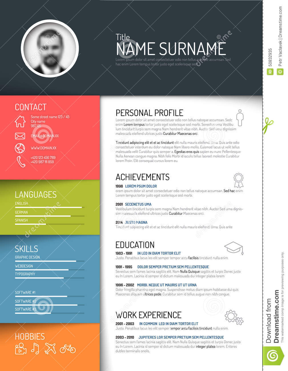 cv    resume template stock vector  illustration of curriculum