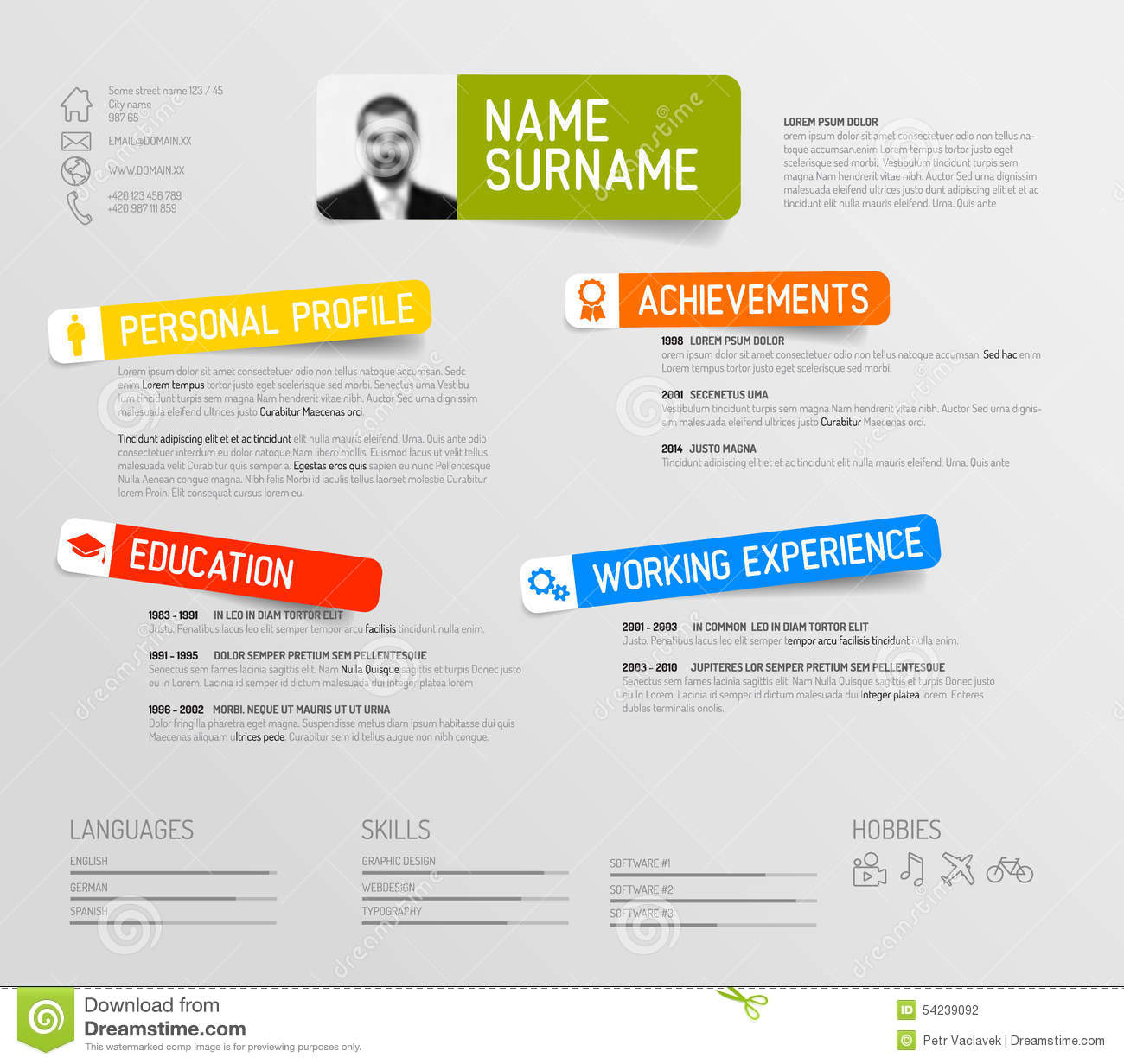 Cv Resume Template Stock Illustration Image 54239092