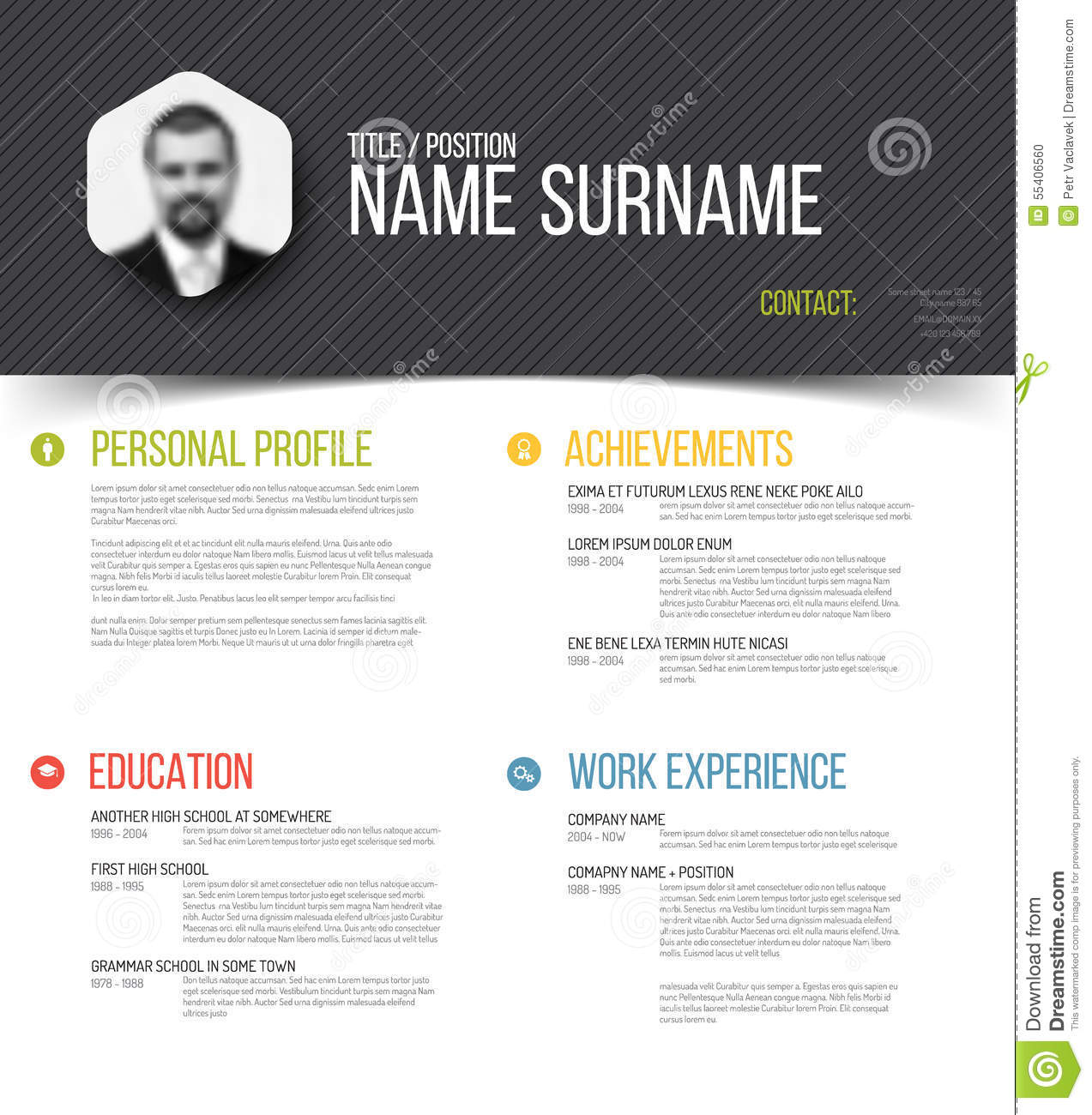 Personal profile template vector illustration for Personal profile design templates