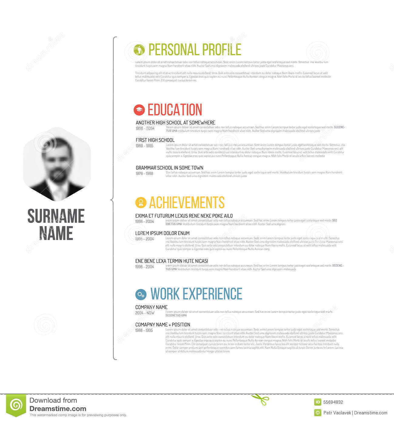 Cv Resume Template Stock Vector Image Of Personal 55694832